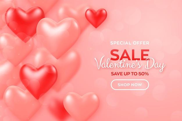 Feliz día de san valentín. banner de venta de día de san valentín con corazones 3d de globos rojos y rosados.