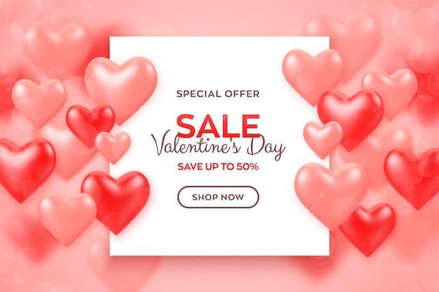 Feliz día de san valentín. banner de venta de día de san valentín con globos rojos y rosas