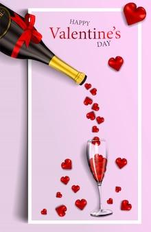 Feliz día de san valentín, banner vertical moderno o tarjeta para su diseño con corazones