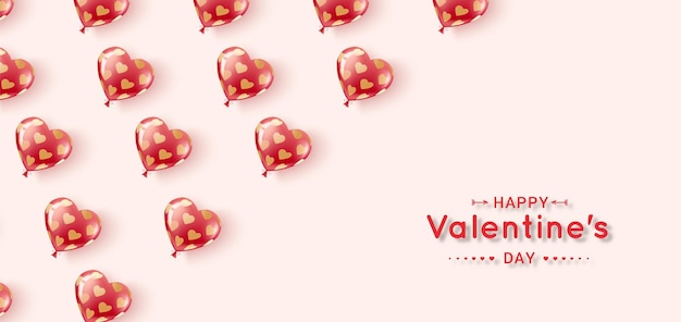 Feliz día de san valentín. bolas de gel voladoras de colores rojo y rosa en un patrón de corazones dorados.