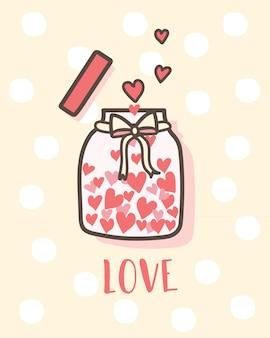 Feliz día de san valentín botella de amor con corazones dentro