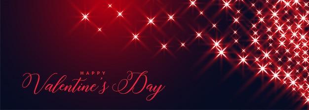 Feliz día de san valentín brilla banner hermoso diseño