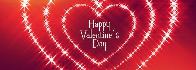 Feliz día de san valentín brilla tarjeta de diseño de corazones