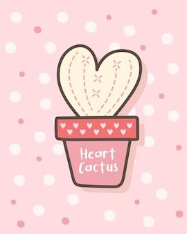 Feliz día de san valentín con cactus en forma de corazón