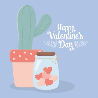 Feliz día de san valentín cactus en maceta y tarro de cristal corazones amor