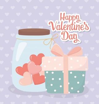 Feliz día de san valentín caja de regalo y tarro de cristal corazón tarjeta de amor