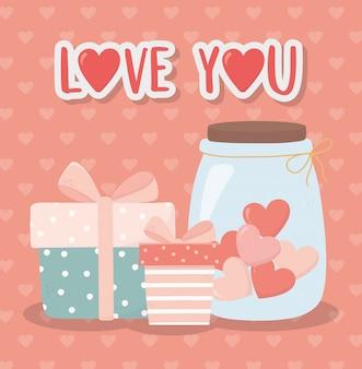 Feliz día de san valentín cajas de regalo y tarro de cristal con corazones amor