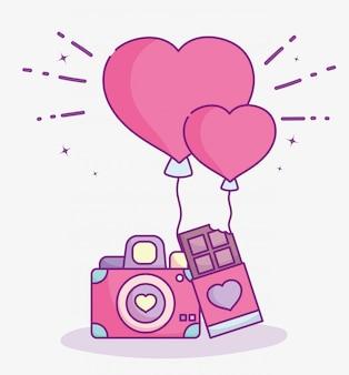 Feliz día de san valentín, cámara de fotos barra de chocolate y globos amor ilustración vectorial