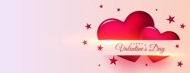 Feliz día de san valentín celebración corazones banner con espacio de texto