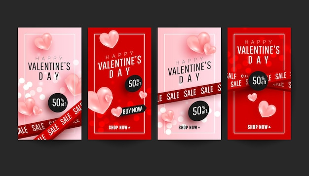 Feliz día de san valentín colección de banners de historias promocionales