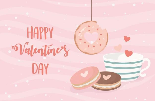 Feliz día de san valentín colgando donut taza de chocolate galletas