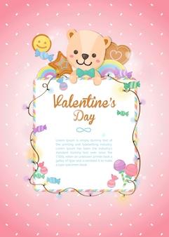Feliz día de san valentín, colorido oso festivo y postre en pastel