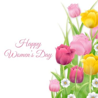 Feliz día de san valentín con coloridos tulipanes