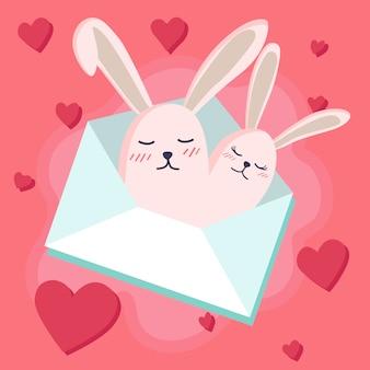 Feliz día de san valentín con conejito enamorado