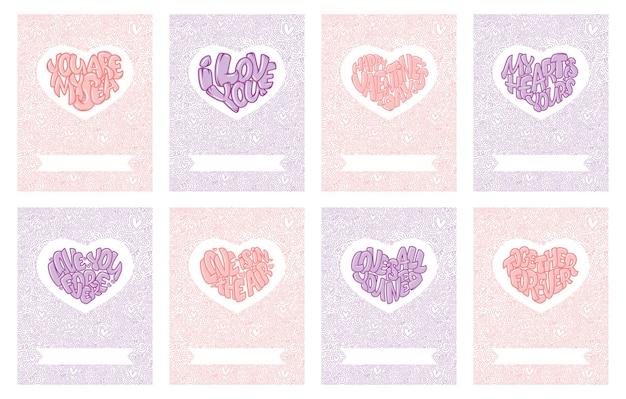 Feliz día de san valentín. conjunto de hermosas tarjetas de felicitación con corazones y letras.
