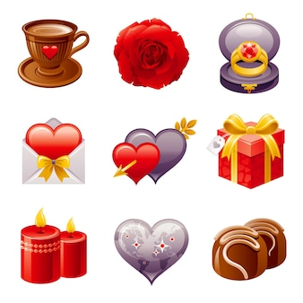 Feliz día de san valentín conjunto de iconos ilustración de dibujos animados