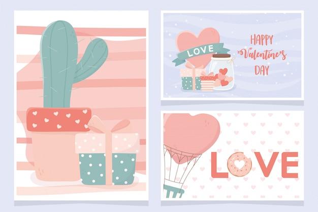 Feliz día de san valentín conjunto de tarjetas cactus ifts corazón conjunto de globos de aire