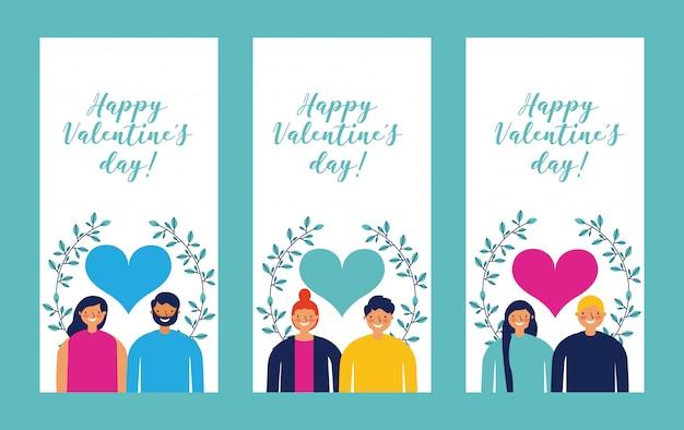 Feliz día de san valentín conjunto de tarjetas