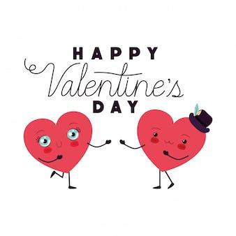 Feliz día de san valentín con corazón amor kawaii carácter