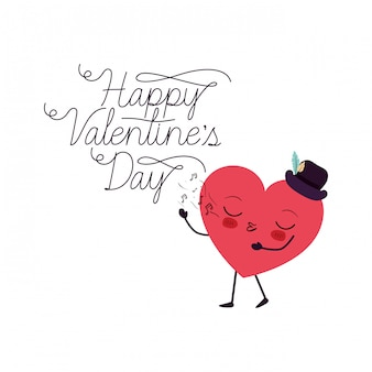 Feliz día de san valentín con el corazón amor kawaii