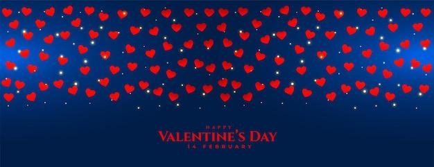 Feliz día de san valentín corazón diseño de banner azul