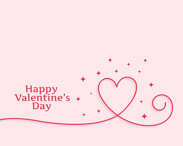 Feliz dia de san valentin corazon de linea creativa