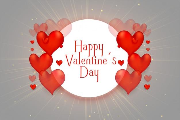 Feliz día de san valentín corazones 3d hermoso fondo