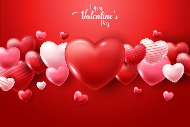 Feliz día de san valentín con corazones 3d