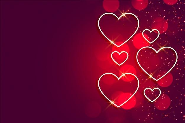 Feliz día de san valentín corazones brillantes de fondo con espacio de texto