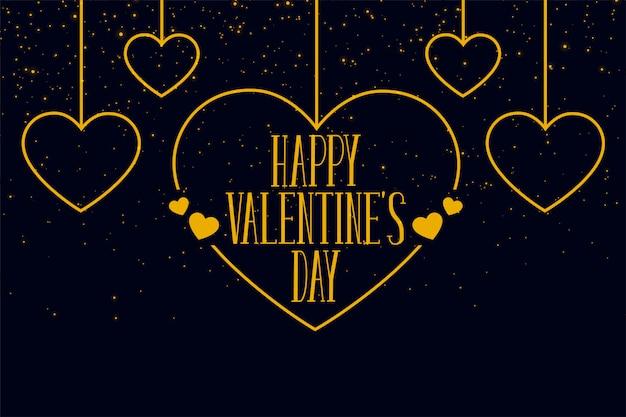 Feliz día de san valentín corazones colgantes tarjeta de felicitación