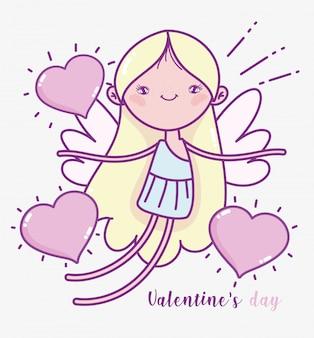 Feliz día de san valentín, corazones de cupido lindo amor tarjeta romántica