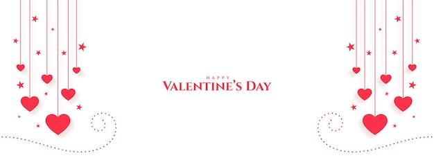 Feliz día de san valentín corazones decorativos diseño de banner