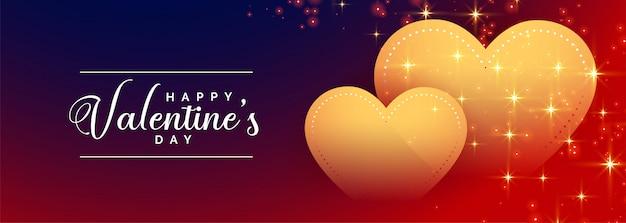 Feliz día de san valentín corazones dorados banner