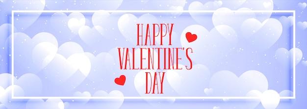 Feliz día de san valentín corazones elegantes bokeh banner