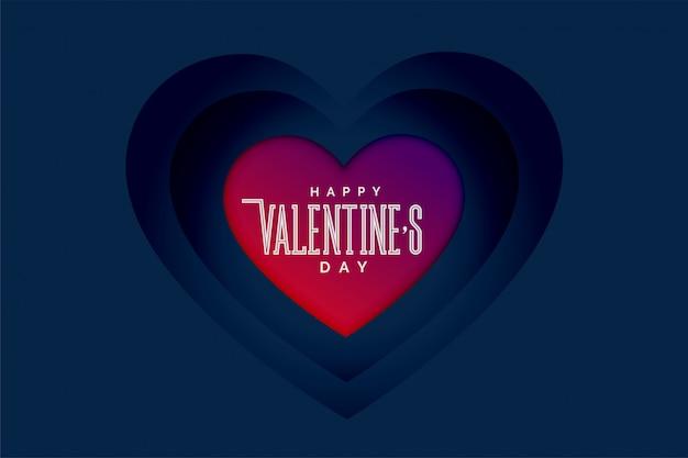 Feliz día de san valentín corazones en estilo de profundidad 3d
