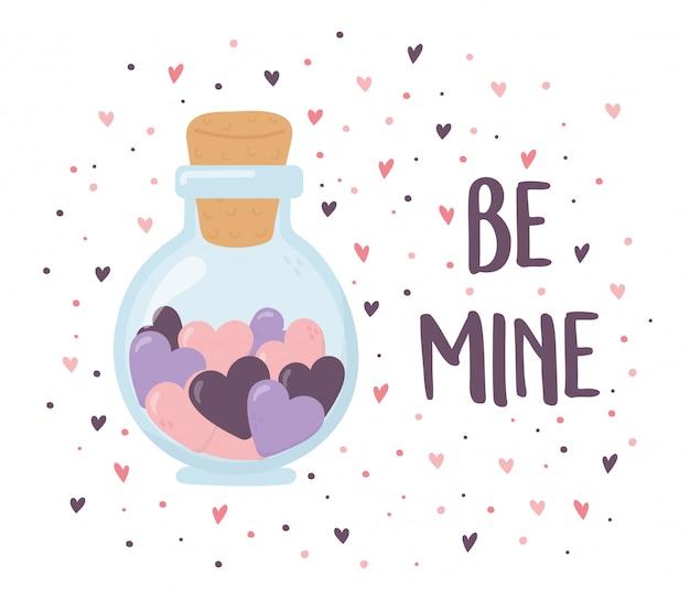 Feliz día de san valentín, corazones en un fondo romántico de vidrio tarro de masón