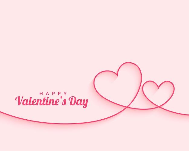 Feliz día de san valentín corazones de línea mínima