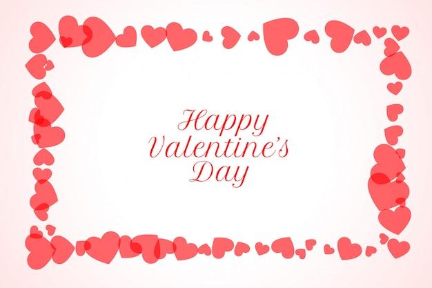 Feliz día de san valentín corazones marco tarjeta de felicitación