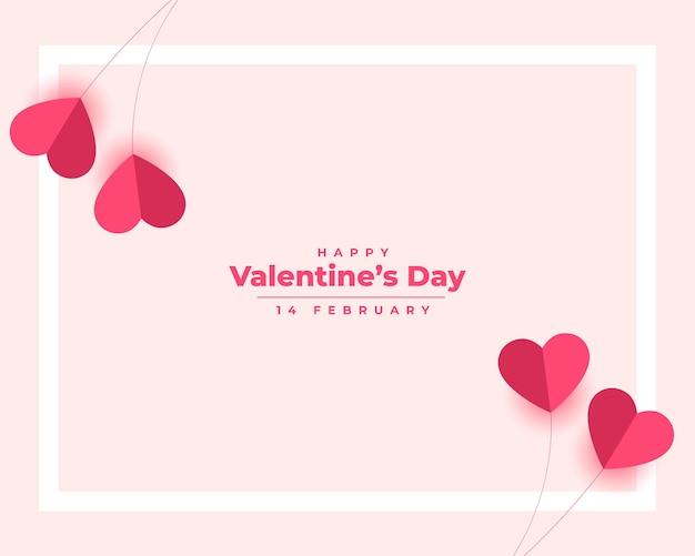 Feliz día de san valentín corazones de papel elegante
