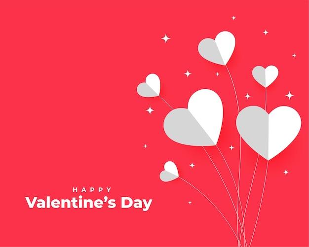 Feliz día de san valentín corazones de papel en estilo globo