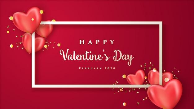 Feliz día de san valentín con corazones realistas