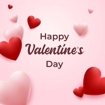 Feliz día de san valentín con corazones rojos y rosados