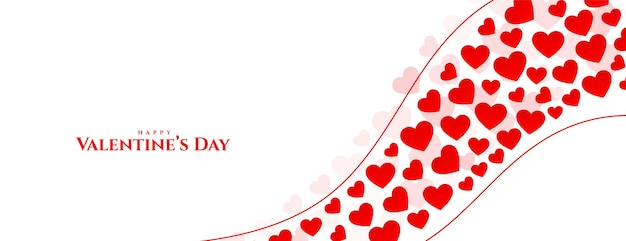 Feliz día de san valentín corazones saludo diseño de banner