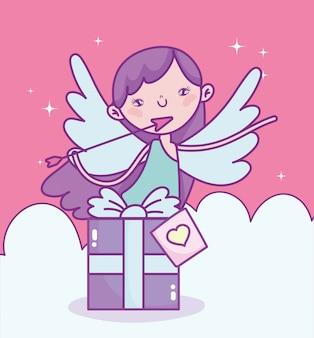 Feliz día de san valentín, cupido con flecha caja de regalo nubes amor ilustración vectorial