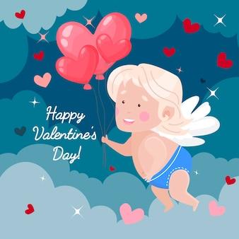 Feliz dia de san valentin. cupido con globos en forma de corazones en las nubes.