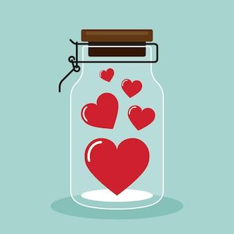 Feliz día de san valentín decorativo con corazón dentro de estilo de diseño plano de tarro de cristal