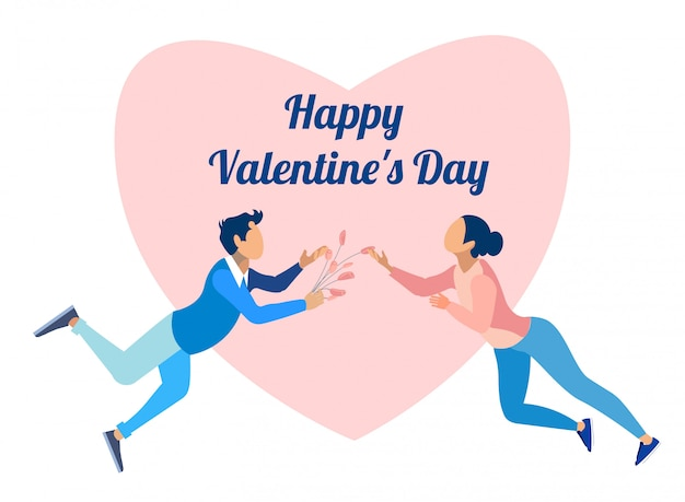Feliz día de san valentín y dibujos animados de pareja de enamorados