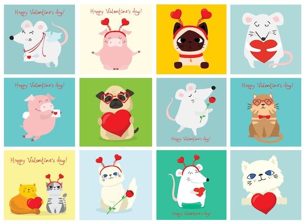 Feliz día de san valentín. diferentes mascotas y animales con corazones como masajes de amor. ilustración para el día de san valentín en estilo plano.