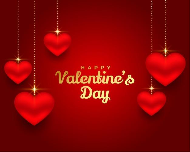 Feliz día de san valentín diseño de banner de corazones 3d