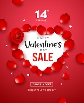 Feliz día de san valentín diseño de cartel de volante de concepto de forma de corazón de venta de rosa roja sobre fondo rojo